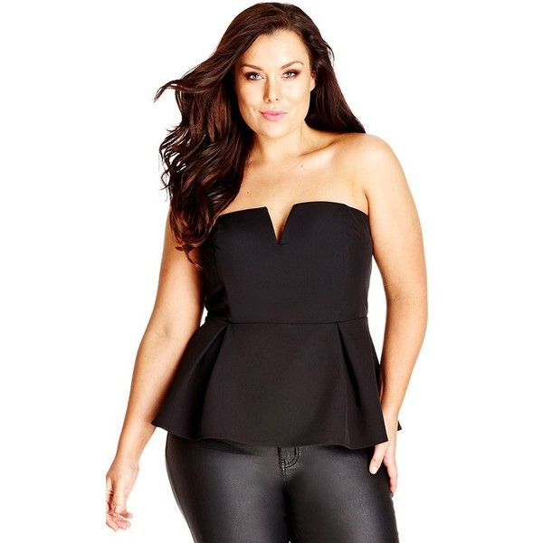 Plus Size Women's City Chic 'Deep V' Strapless Corset Top ($52) ❤ liked on Polyvore featuring tops, black, plus size, strapless corset, corsette tops, plus size strapless tops, women's plus size tops and strapless corset top