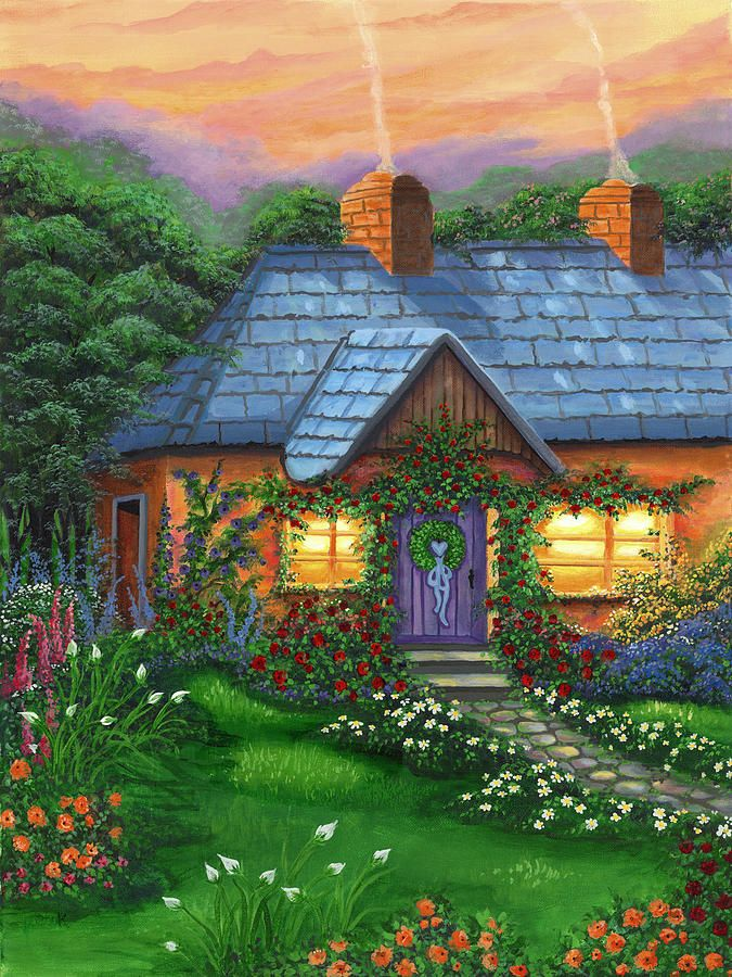 Rose cottage canvas print canvas art by bonnie cook for Rose cottage