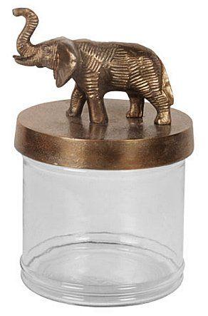 Burk med elefant. Glass jar with elephant. www.longcoastliving.se