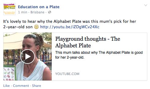 Just uploaded another video testimonial. https://www.facebook.com/educationonaplate/posts/780131355394700
