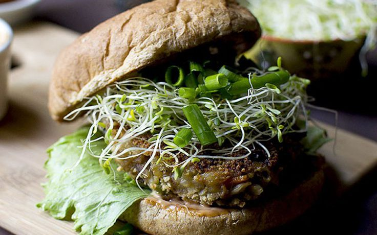 This burger with Indo-Chinese flavors is made with a mixture of vegetables and mashed potato, with the addition of textured vegetable protein adding both a meaty texture and protein to this otherwise carb-rich meal.