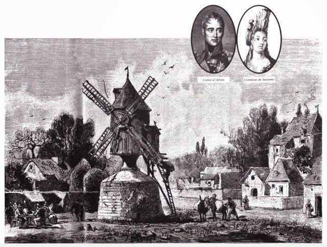"""Le Moulin de Javel  La première mention du moulin """"de Javel"""" apparaît en 1658, mais il existe depuis bien plus longtemps. Situé sur une île, le moulin ne fut rattaché à la terre ferme qu'au XVIIIe siècle, au débouché de l'actuelle rue Leblanc, dans le 15e arrondissement de Paris."""