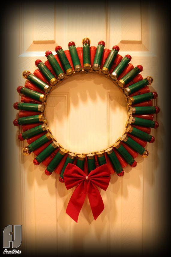 Shotgun Shell Christmas Wreath Red & Green Shells by FJCreations