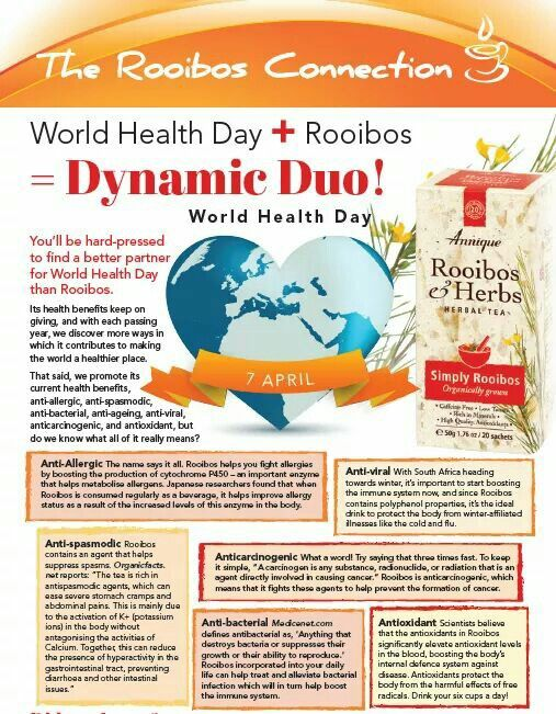 World Health Day + Rooibos = Dynamic Duo. Read here why you'll be hard-pressed to find a better partner for World Health Day than Rooibos.  World Health Day 7 April 2017  #LeoniqueSkincare #Annique #WorldHealthDay #Rooibos