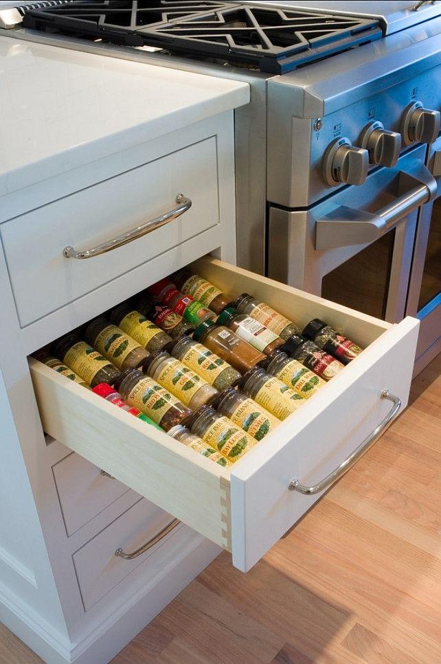 Kitchen Spice Storage Ideas. #Kitchen #KitchenStorage