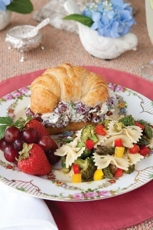 Southern Pecan Chicken Salad. Use only Boneless skinless chicken breast, sub light mayo or use non pat plain yogurt to cut calories. No Croissant (sub whole wheat bread)