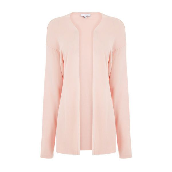Warehouse Warehouse Edge To Edge Cardi Size S ($28) ❤ liked on Polyvore featuring tops, cardigans, light pink, cardigan top, pink top, light pink top, warehouse tops and pink cardigan