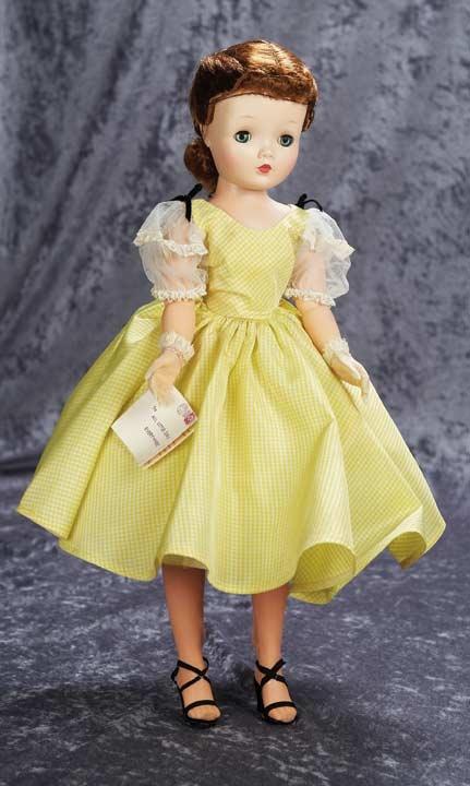 "madame alexander's ""cissy"" doll in a taffeta party dress 1957"