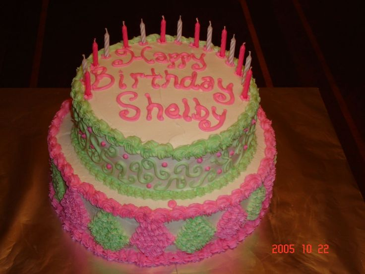 Teen Girl Birthday Cake - For this cake, the birthday girl wanted pink and green.
