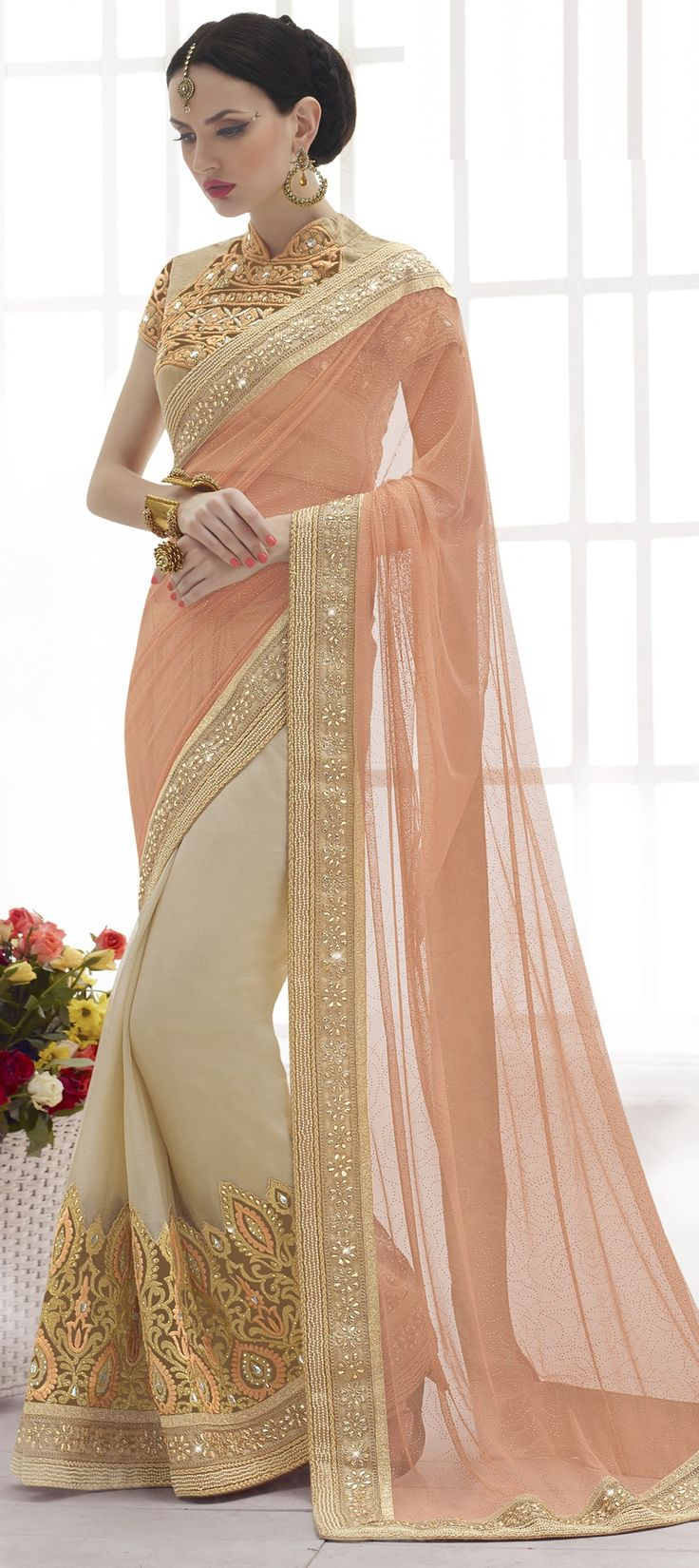 185953: Beige and Brown color family Embroidered Sarees,Party Wear Sarees with matching unstitched blouse.