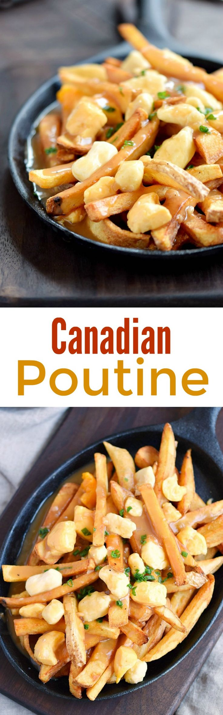 This is my take on Canadian Poutine, and it is delicious! Fresh, homemade french fries and white cheddar cheese curds topped with a rich brown gravy | cookingwithcurls.com