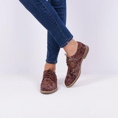 Pantofi Oxford din piele naturala grena Janice