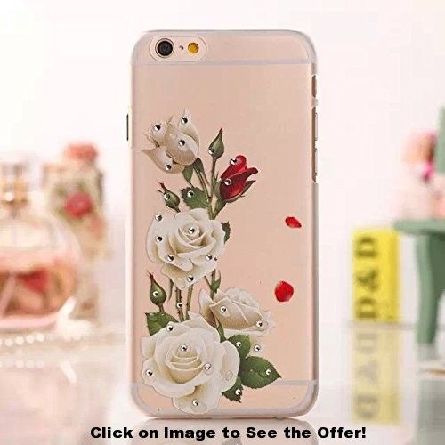FLIN(TM) Bling Diamond White Rose Flowers Clear Crystals Hard Back Case For Apple iphone 6 4.7″,with Stylus Pen,Screen Protector and Cleaning Cloth BSMG