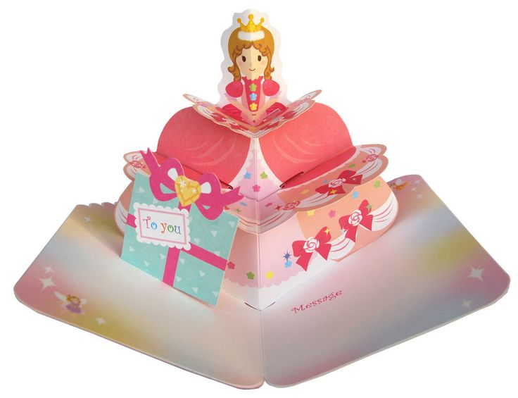Fairy princess pop up pink birthday card