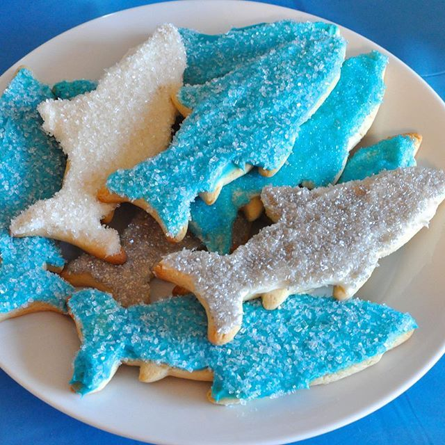 """Happy National Sugar Cookie Day!! And they're even better when they're shark shaped!! Bounce over to the blog for """"The Most Awesome Ever Sour Cream Sugar Cookies"""" recipe. Search Keyword: sugar cookies #sharkweek #sharkweekhoohaha"""