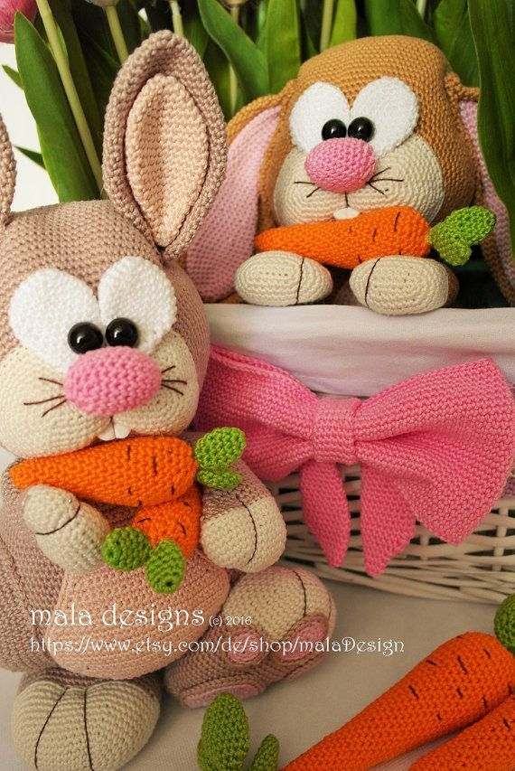 ❤ Rabbits, Crochet Pattern by Mala Designs. I own this really cute design. So much fun to make.