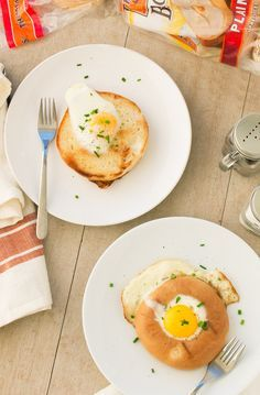 Egg in a Bagel Hole: Sink your teeth into this delicious hole in one. Cook an egg inside a Thomas' Bagel hole and serve topped with fresh chives.