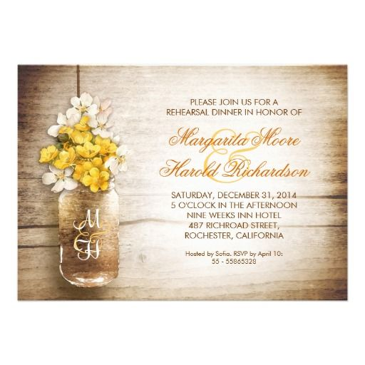 mason jar and white yellow flowers rustic rehearsal dinner invitations