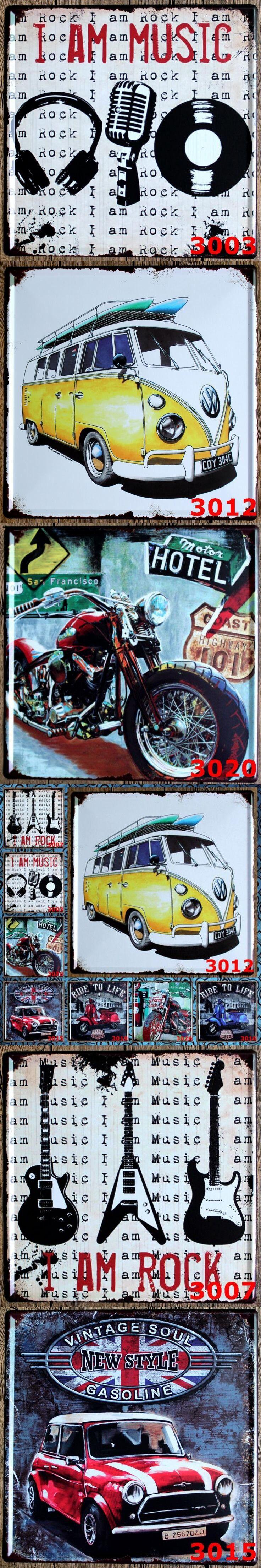 3PCS/lot Wholesale 30*30CM Retro Bus Tin Signs Iron Plaque Vintage Home Decor Bar Decoration $29.5
