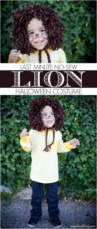 Easy last minute, no-sew kids Lion Halloween Costume MichaelsMakers anightowlblog.com