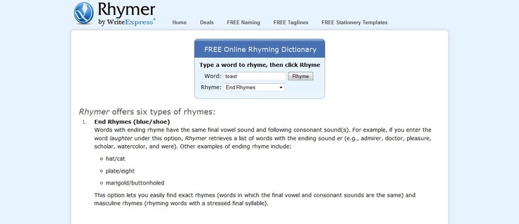 free online rhyming dictionary