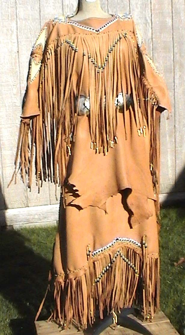 Cherokee native american wedding dress cheyenne buckskin for Old west wedding dresses
