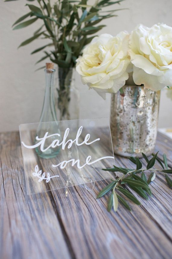 Acrylic plexiglass table numbers or names. by BeeCuriousDesigns