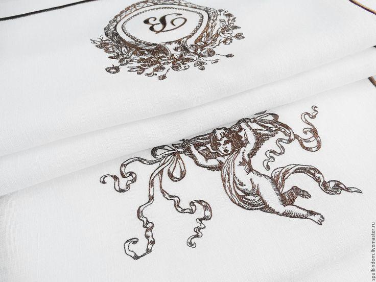 """Купить Дорожка с вышивкой """"Вензель Венеция"""" - коричневый, винтаж, винтажный стиль, гравюра, графика рисунки"""