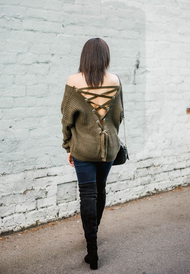Olive off the shoulder sweater