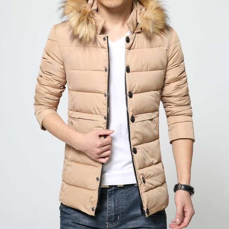 2017 winter parka men Down Jacket casual winter long section hooded with fur collar Korean Slim cotton padded male Overcoat