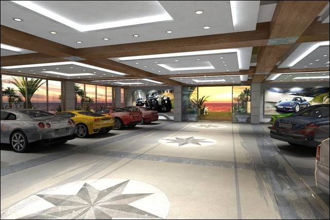 Interior modern spacious garage for car collector with for Luxury garage interiors