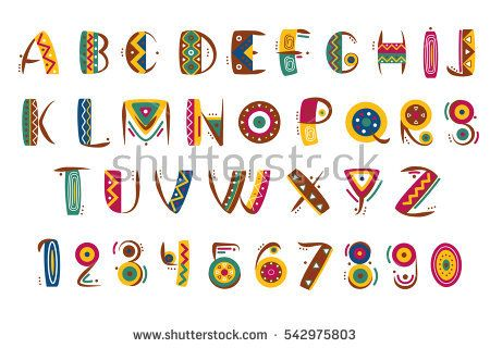 Primitive mexican font. Tribal indian or african letter numbers vector illustration. Ethnic abc tribal and number