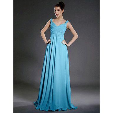 Floor-length+Chiffon+Bridesmaid+Dress+-+Pool+Plus+Sizes+/+Petite+A-line+Straps+/+V-neck+–+USD+$+89.99