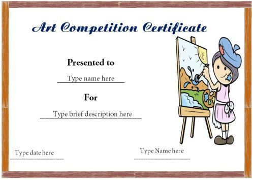 Certificate Format For Art Competition Winner Art Certificate