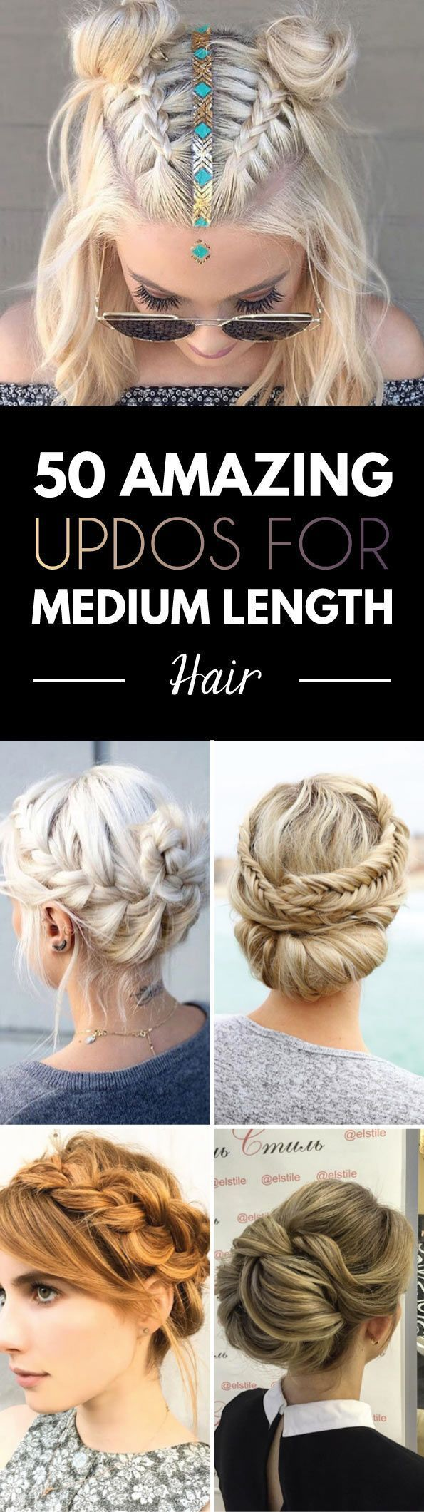 Great selection of updos for medium length hair - Deconstructed fishtail updo. (Letitia Booth) Low braided updo. (Lorena) Knotted top bun. (Cococha) Chic french twist. (Show Beauty) Laced braid ...