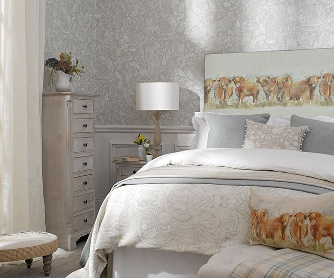 Highland Cattle Headboard @fine.fabrics check out our instagram page for more beautiful fabrics