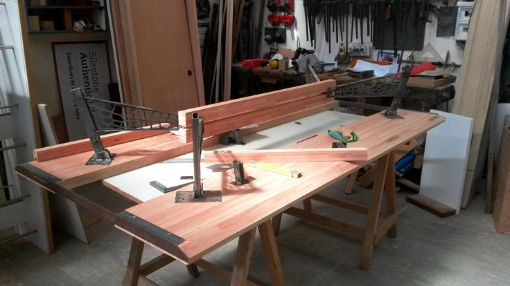 table, steel, wood and glass Woodworking and steel