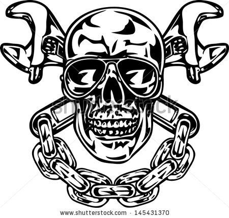 Skull With Crossed Wrenches And Chain Stock Vector
