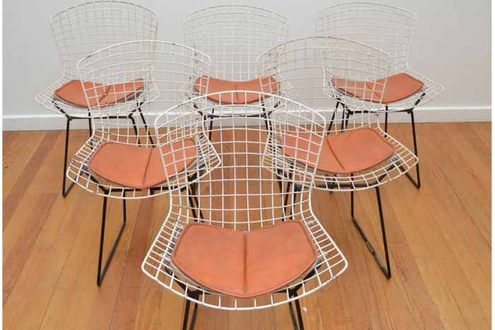 A set of six Harry Bertoia wire chairs. (Pic: Supplied/Leonard Joel)