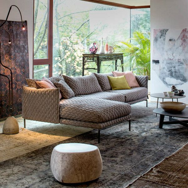 "Designed by Patricia Urquiola Dimensions: 130""L x 76 3/4""D Materials: Innofa Cappuccino Made in Italy The new sofa designed by Patricia Urquiola fosters a return to industrial design's capacity for te"