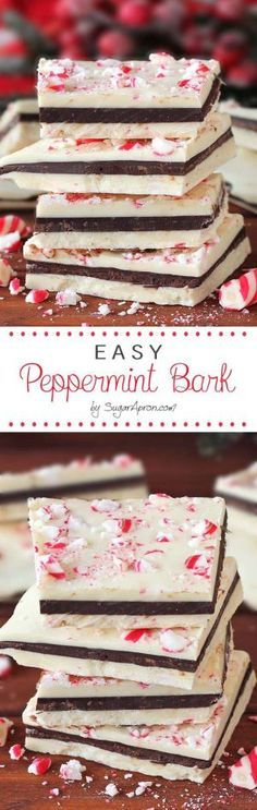 Easy Peppermint Bark Recipe via Sugar Apron - If you love that seasonal peppermint bark from the big warehouse store - you GOTTA give these a try!