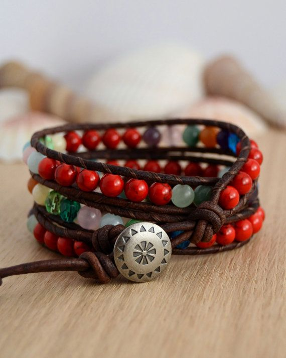 Red and mixed color triple wrap bracelet. Colorful by SinonaDesign, €48.00