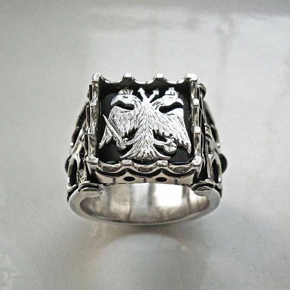 Mens silver ringDouble headed eagle ringmens eagle