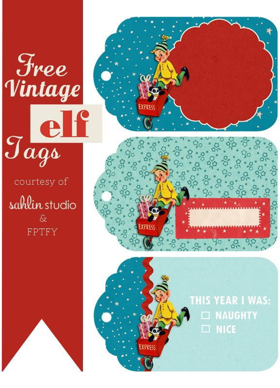 Cuteness Alert!  Free Vintage Elf Tags over  @Free Pretty Things For You