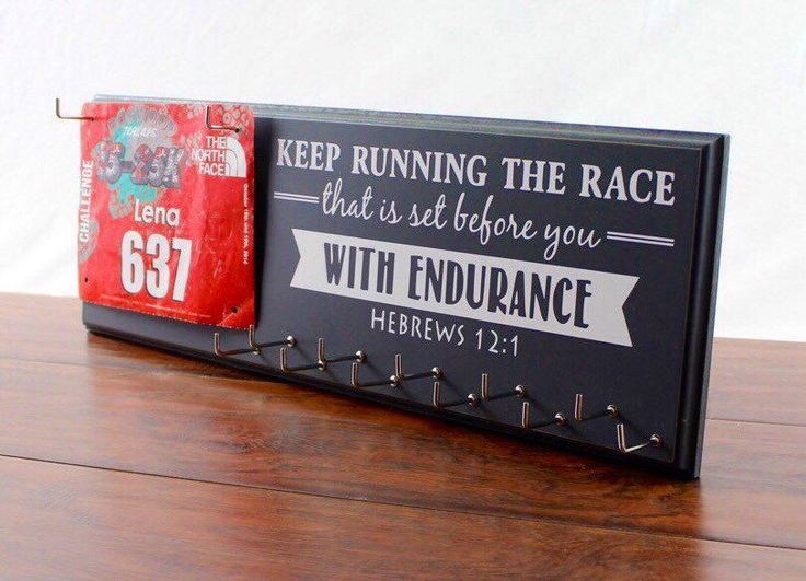 Running Medal Holder and Race Bib Hanger - running medal rack race bib holder - Hebrews 12:1 Keep Running the race that is set before you by StrutYourStuffSignCo on Etsy https://www.etsy.com/listing/168919505/running-medal-holder-and-race-bib-hanger