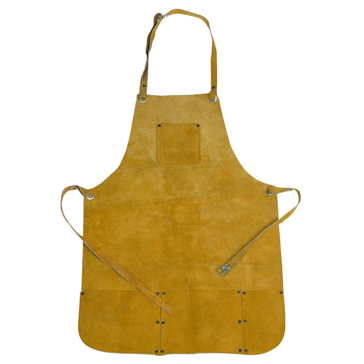 This welding apron protects you and your clothes from hot sparks as you weld, cut or grind. The leather apron has double stitched seams, adjustable straps for a comfortable fit and four pockets to keep your supplies on-hand. This welding apron is a must for any welder's safety!