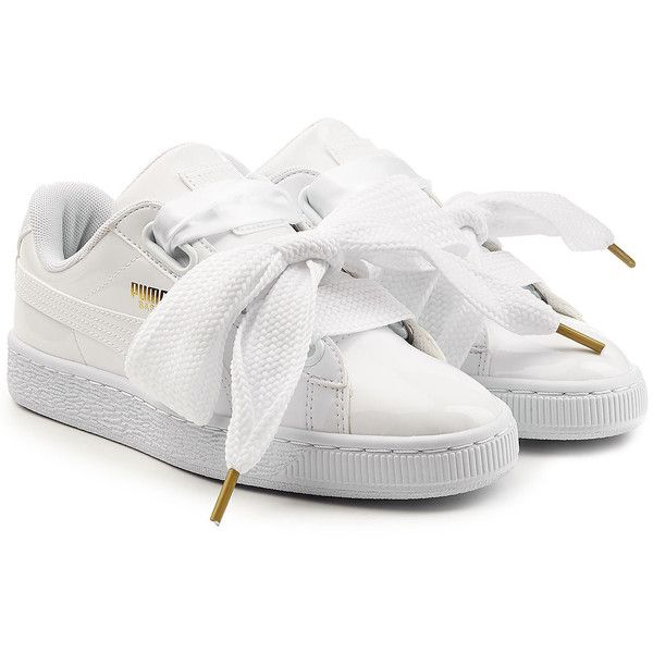 Puma Sneakers ($76) ❤ liked on Polyvore featuring shoes, sneakers, sapatos, white, leather trainers, puma footwear, white trainers, leather footwear and heart sneakers