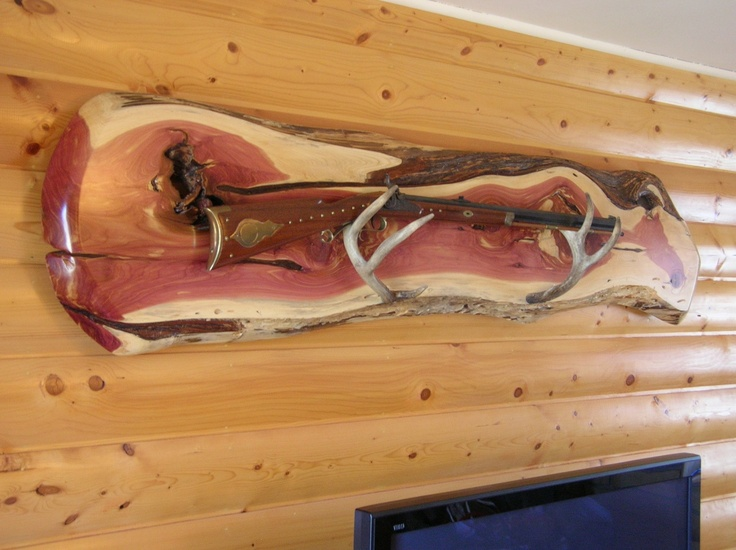 Live edge slab gunrack western red cedar