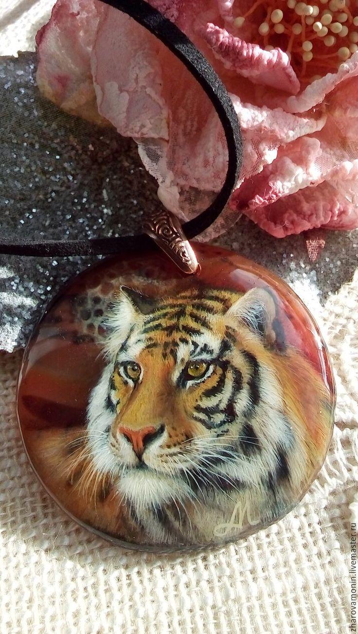 """Купить Кулон """"Хозяин тайги"""" ( отложен ). - коричневый, тигр, лаковая миниатюра"""