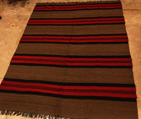 #Antique Anatolian #Kilim #Rug #Square  #Striped #Brown #Red #Black  by #VintageHomeStories #Rustic #HomeDecor #Floor #Decor